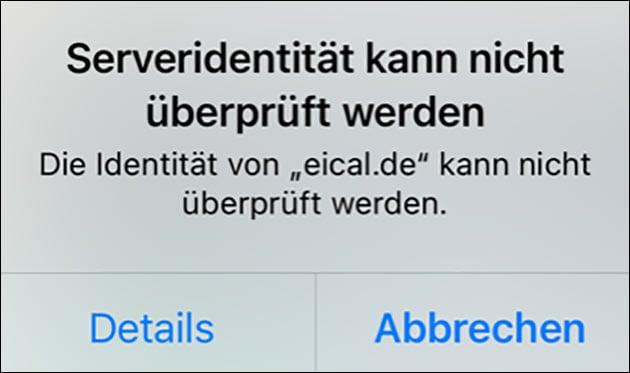 Serveridentität: Identität von eical.de kann nicht überprüft werden