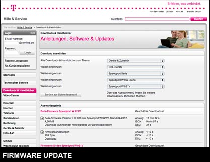 Speedport Firmware Update