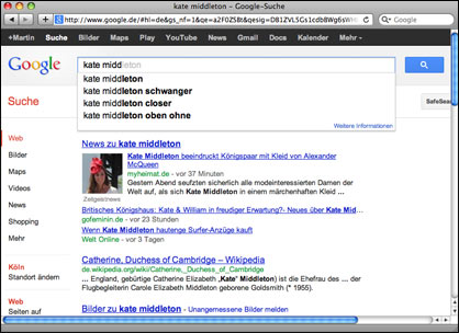 Kate Middleton in Google