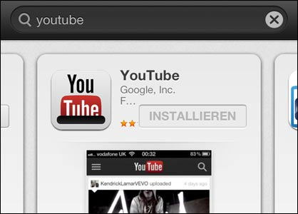 YouTube im App Store