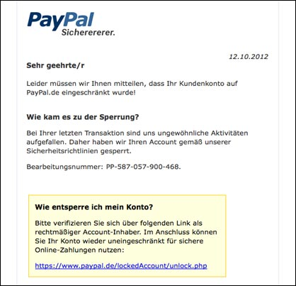 vorsicht gef hrliche paypal phishing email bitte pr fen. Black Bedroom Furniture Sets. Home Design Ideas