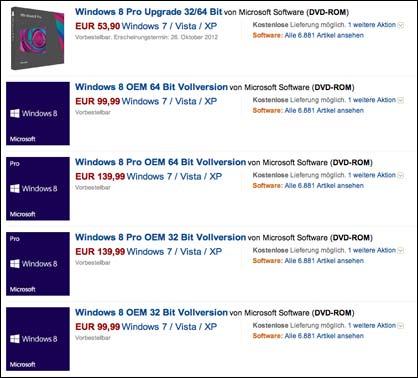 Windows 8 Preisliste