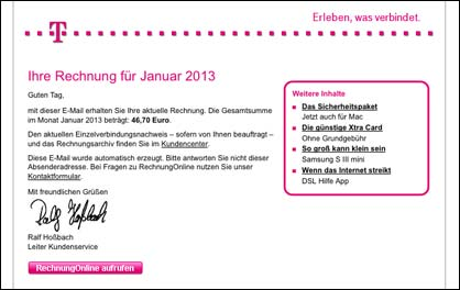 Telekom Virus Email