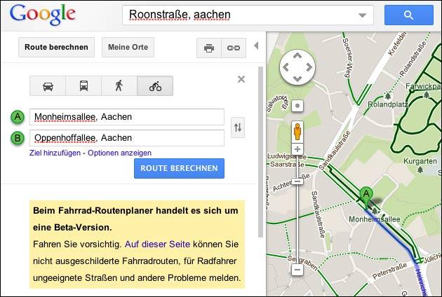 Google Maps Fahrrad