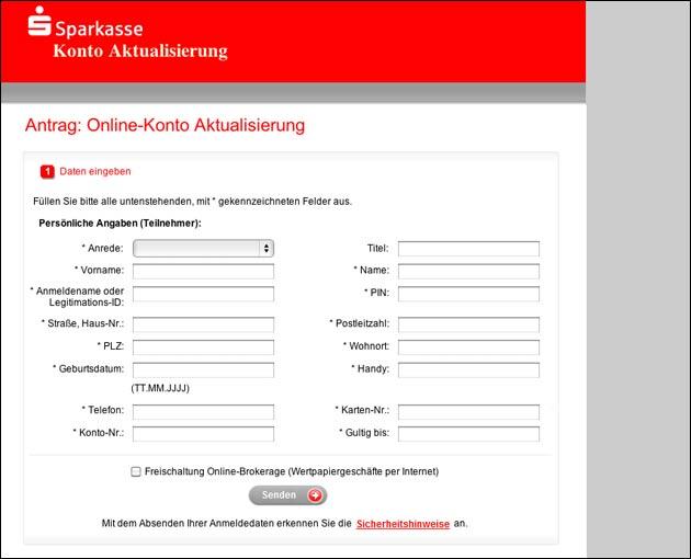 Sparkasse Aktualisierung: Phishing Email