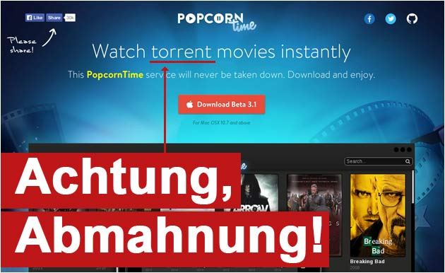 Popcorn Time Abmahnung