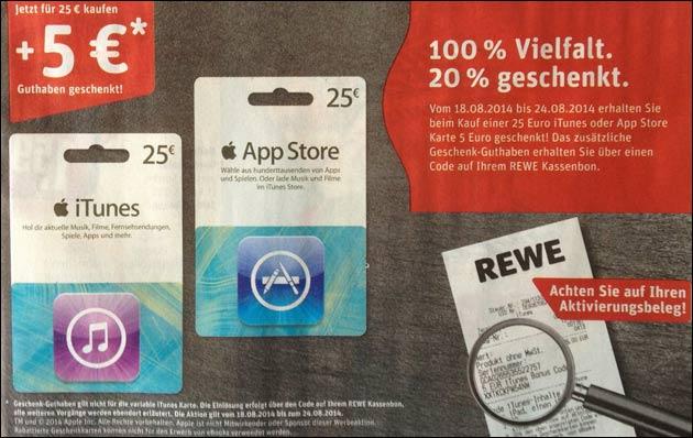REWE: iTunes Karte mit 20% Rabatt (5,- EUR)