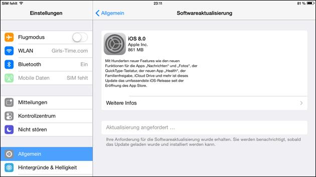 iOS 8 auf dem iPad