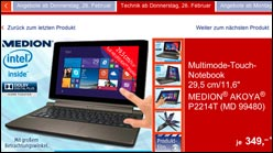 Medion Akoya P2214T: Notebook + Tablet ab Donnerstag bei Aldi