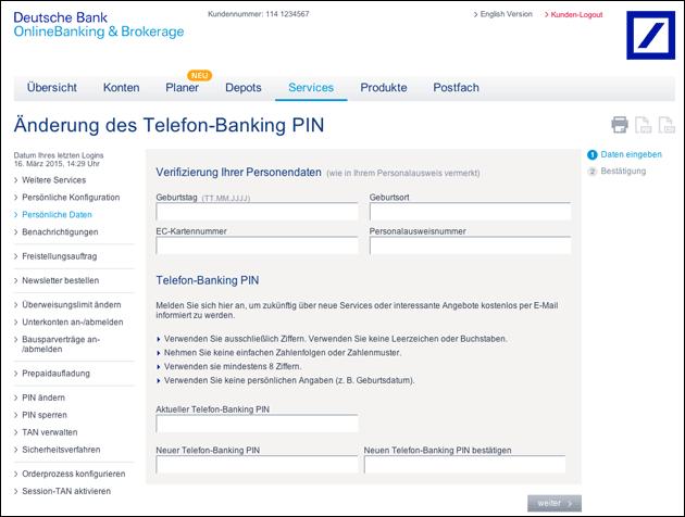 deutsche online bankig