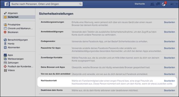 Facebook Nachlasskontakt