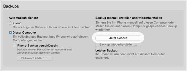 iPhone Backup sichern oder wiederherstellen