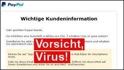 Virus: Gefälschte PayPal App späht Zugangsdaten aus!