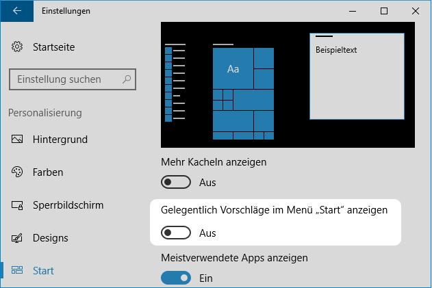 Windows 10 Werbung abschalten im Startmenü
