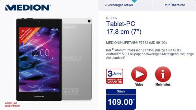 medion lifetab p7332 7 android tablet n chste woche bei aldi. Black Bedroom Furniture Sets. Home Design Ideas