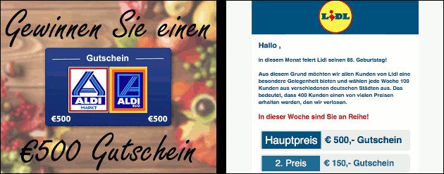 Vorsicht: Gefälschte Aldi + Lidl Gutschein-Angebote!