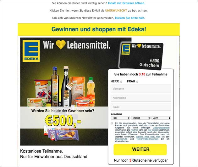 Gefälschte Edeka-Gutschein-Mail