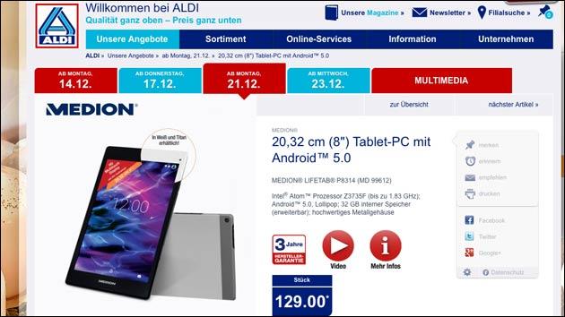 Tablet-Schnäppchen zu Weihnachten? Medion Lifetab P8314