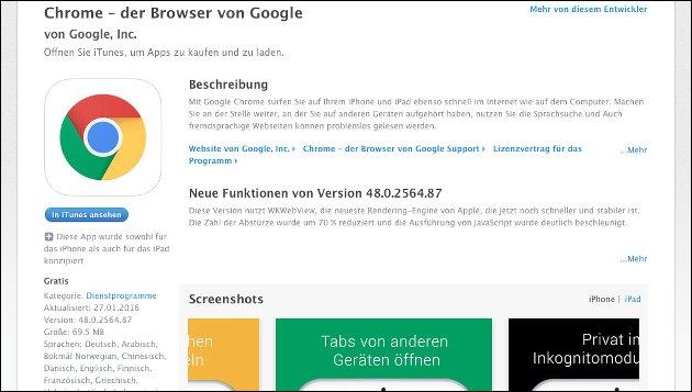 Statt Safari? Chrome für iOS!!