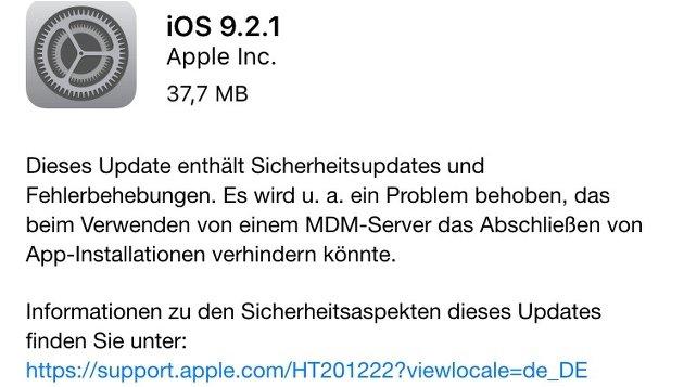 Kleine Verbesserungen im gerade erschienenen Apple-Update!