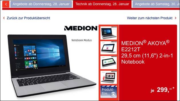 Notebook/Tablet Schnäppchen: Medio Akoya E2212T!