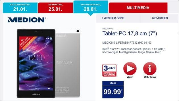 """7"""" Tablet-Schnäppchen bei Aldi: Medion P7332"""