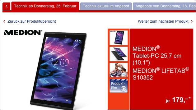 179,- € Tablet bei Aldi Süd: Medion Lifetab S10352!