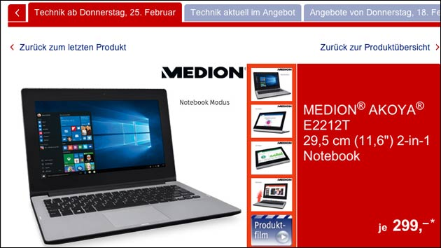 notebook oder tablet beides medion akoya e2212t heute bei aldi s d. Black Bedroom Furniture Sets. Home Design Ideas