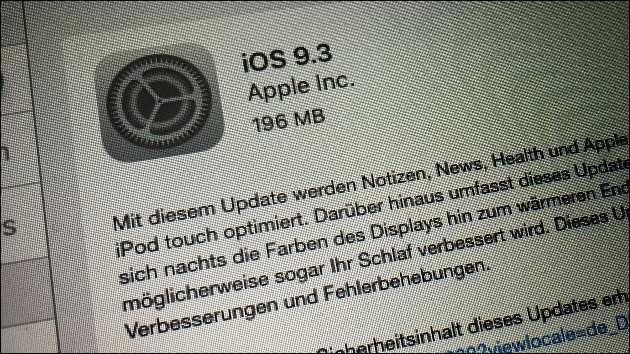 Apple Update: iOS 9.3 gratis laden!
