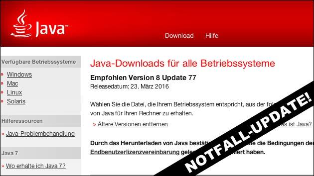 Java Notfall-Update - dringend installieren!
