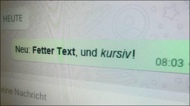 Neue WhatsApp Funktionen: Texte fett und kursiv schreiben!