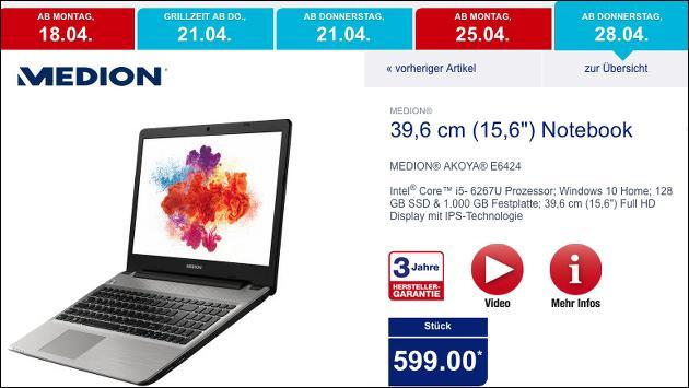Medion Akoya E6424 ab Ende April bei Aldi - mit Intels neuer Iris Grafik!