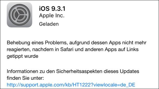 iOS Update auf 9.3.1