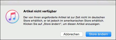 iTunes Store wechseln