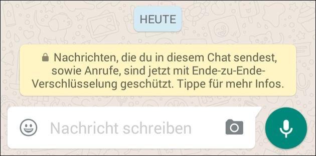 WhatsApp-Hinweis: Chat verschlüsselt!