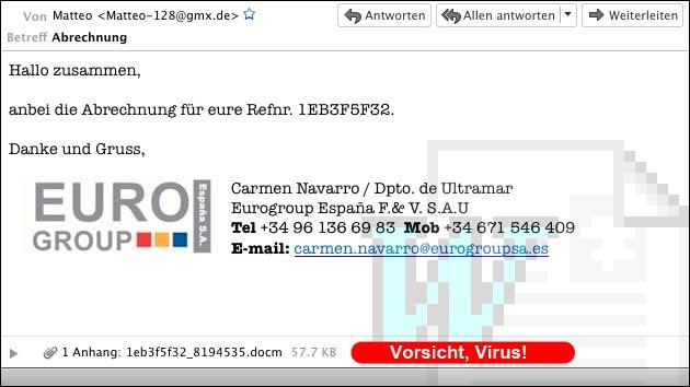 Gefälschte Mail: Angebliche Rechnung der Euro Group mit Virus!