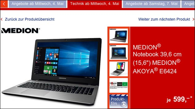 Morgen bei Aldi: Lohnt sich dasMedion Akoya E6424 Notebook?