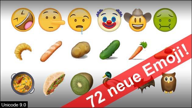 Alle 72 neuen Emoji Smileys!
