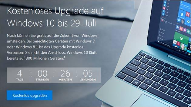 Noch 4 Tage: Windows 10 Upgrade endet am 29. Juli!