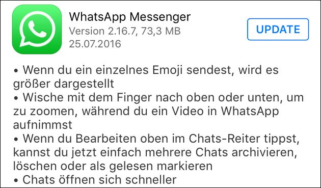 WhatsApp-Update: Große Emoji + Video-Zoom!