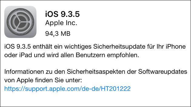 Wichtiges Update: iOS 9.3.5!