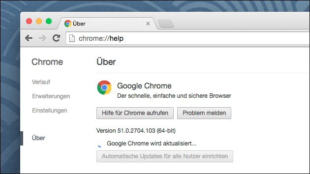 Update auf Chrome Browser 52
