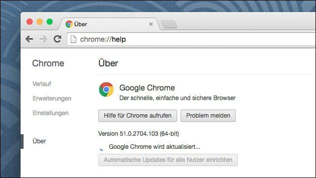 Update auf Chrome Browser 52