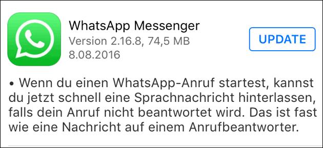 WhatsApp-Update bringt Anrufbeantworter