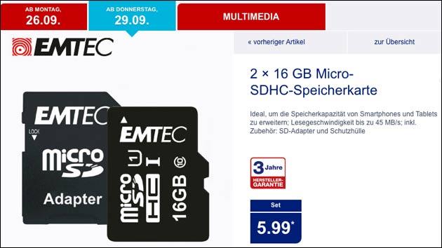 Aldi: microSD Speicherkarte