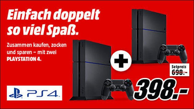mediamarkt angebot 2 ps4 zum preis von einer 398 eur. Black Bedroom Furniture Sets. Home Design Ideas