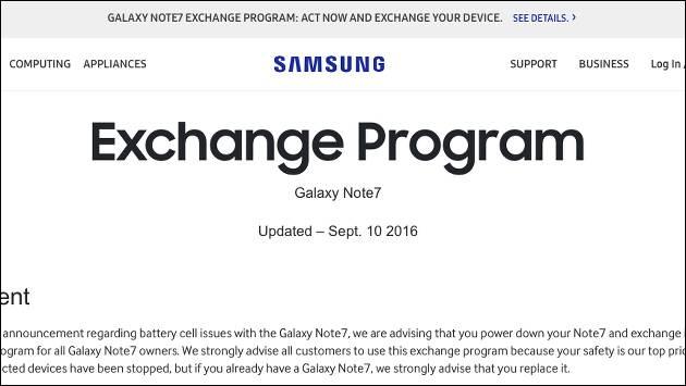Samsung Galaxy Note7 Austausch gestartet