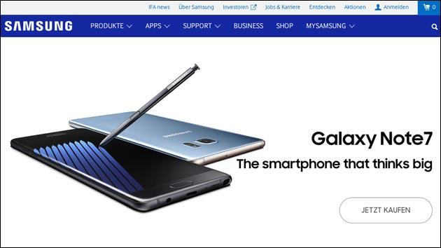 Feuergefahr: Samsung Galaxy Note 7