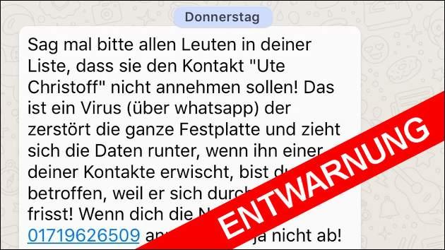 Watsapp-Kettenbrief: Warnung vor Ute Christoff