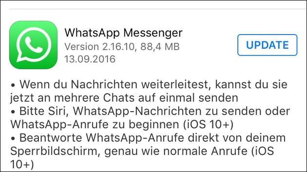 WhatsApp-Update für iOS 10